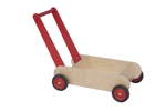 Picture of Leren loopwagen- rood Blokkenduwwagen Hout Van Dijk Toys