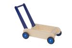 Picture of Leren loopwagen- blauw Blokkenduwwagen Hout Van Dijk Toys