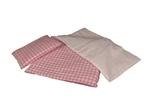 Afbeeldingen van Poppen- bedbekleding-beddegoed roze-wit geblokt Matras, dekbed en kussen 60x 20 cm Van Dijk Toys