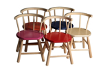 Image de Kinderstoel,  roze zitvlak, gebogen leuning,  beukenhout Van Dijk Toys