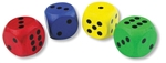 Afbeeldingen van Jumbo dobbelsteen gekleurd assortie 3x3cm Bigjigs