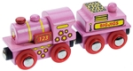 Image de Roze locomotief met kolentender houten treinbaan Bigjigs