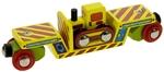 Image de Wagon, dieplader met bulldozer houten treinbaan Bigjigs