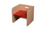 Picture of Rode kubusstoel-kinderstoel met gekleurde zitting,  thuisgebruik 1-8 jaar Van Dijk Toys