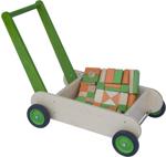 Picture of Leren loopwagen- groen Blokkenduwwagen hout 40x 30 cm Van Dijk Toys