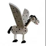 Afbeeldingen van Vliegfiguur Paard hout kinderkamer Van Dijk Toys