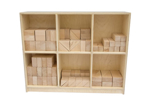 Picture of 156 Haagse blokken 10 cm . Haagse blokken set 156 grote blank beukenhouten bouwblokken  Van Dijk Toys