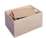 Afbeeldingen van Kleine houten speelgoedkist-sjouw-opbergkist  Van Dijk Toys