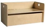 Picture of Peuter kubusopbergbank-kinderbank  hout met blanke klep-zitting en opbergvak groepsgebruik 1-6 jaar Van Dijk Toys