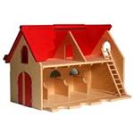 Picture of Speelboerderij hout met rood scharnierend dak en ladder 3+ 75x 30x 45 cm Van Dijk Toys