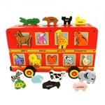 Afbeeldingen van Autobus vormenpuzzel met veel dieren Nederlands