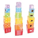 Afbeeldingen van Houten Stapelblokken en vormenstoof in één Bigjigs