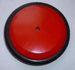 Afbeeldingen van Wiel Hout rood met rubber band zonder groef  diameter 12,5 cm