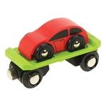 Image de Wagon met autootje houten treinbaan Bigjigs