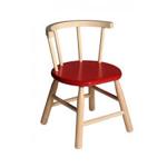 Picture of Kinderstoel,  oranje zitvlak, gebogen leuning,  beukenhout Van Dijk Toys