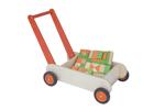 Picture of Leren loopwagen- oranje Blokkenduwwagen hout 40x 30 cm VanDijk Toys