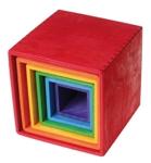 Afbeeldingen van Grimm's grote set stapelkubusblokken 15 cm elementaire kleuren