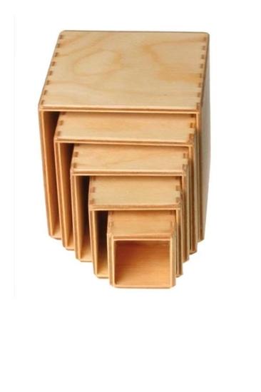 Image de Grimm's kleine set stapelkubusblokken 11 cm blank