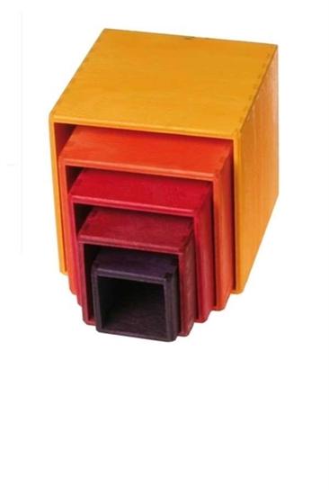 Bild von Grimm's kleine set stapelkubusblokken 11 cm  geel rood