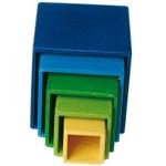 Image de Grimm's kleine set stapelkubusblokken 11cm blauw groen