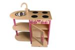 Afbeeldingen van Roze speel-kinderkeuken combi kleuter hout Van Dijk Toys