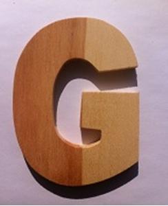 Afbeeldingen van Naamletter, deurletter blankhout Co&Co12 cm Letter G