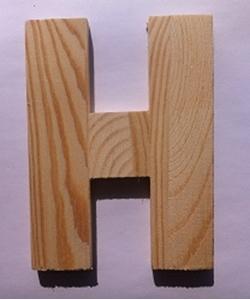 Bild von Naamletter, deurletter blankhout Co&Co12 cm Letter H