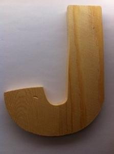 Bild von Naamletter, deurletter blankhout Co&Co12 cm Letter J