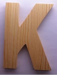 Afbeeldingen van Naamletter, deurletter blankhout Co&Co12 cm Letter K