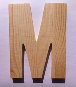Bild von Naamletter, deurletter blankhout Co&Co12 cm Letter M
