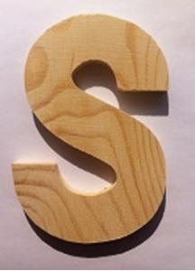 Bild von Naamletter, deurletter blankhout Co&Co12 cm Letter S