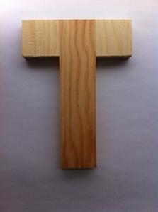 Bild von Naamletter, deurletter blankhout Co&Co12 cm Letter T