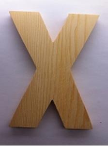 Bild von Naamletter, deurletter blankhout Co&Co12 cm Letter X