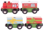 Picture of Kersttrein 3 wagons houten treinbaan Bigjigs