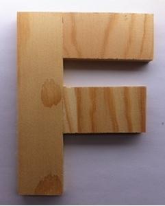 Bild von Naamletter, deurletter blankhout Co&Co12 cm Letter F