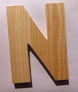 Bild von Naamletter, deurletter blankhout Co&Co12 cm Letter N