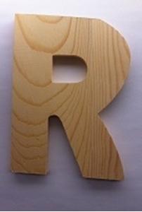 Afbeeldingen van Naamletter, deurletter blankhout Co&Co12 cm Letter R