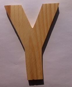 Bild von Naamletter, deurletter blankhout Co&Co12 cm Letter Y