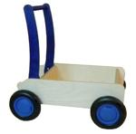 Image de Luxe loopwagen- blauwe Blokkenduwwagen Hout rechte rand  Van Dijk Toys