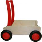 Image de Luxe loopwagen- rode Blokkenduwwagen Hout met rechte rand  Van Dijk Toys