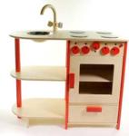 Afbeeldingen van Rode speel-kinderkeuken combi kleuter hout Van Dijk Toys