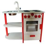 Afbeeldingen van Rode speel-kinderkeuken combi peuter hout Van Dijk Toys