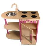 Afbeeldingen van Roze speel-kinderkeuken combi peuter hout Van Dijk Toys