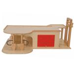 Afbeeldingen van Speel-garage met lift, roldeur en benzine pomp Hout Van Dijk Toys
