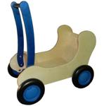 Image de Blauwe Combi Poppenwagen - Loopwagen-Blokkenduwwagen Van Dijk Toys