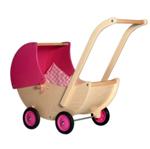 Picture of Poppenwagen naturel- en roze beweegbare kap Hout Van Dijk Toys