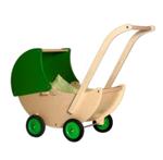 Picture of Poppenwagen naturel- en groene beweegbare kap Hout Van Dijk Toys