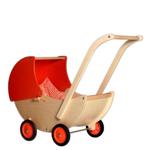 Picture of Poppenwagen naturel- en oranje beweegbare kap Hout Van Dijk Toys