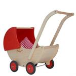 Picture of Poppenwagen naturel- en rode beweegbare kap Hout Van Dijk Toys