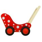 Picture of Moderne poppenwagen rood met witte stippen Hout Van Dijk Toys